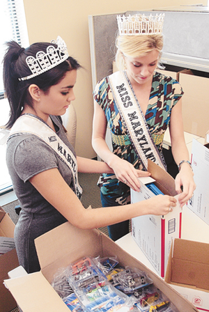 Miss Maryland Teen USA - Ana Maria Lawson, Miss Maryland Teen USA 2008 assembles military care packages with Casandra Tressler, Miss Maryland USA 2008