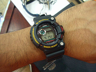 "Casio G-Shock Frogman - Wristshot of a Casio G-Shock Frogman.  The pictured model is an older Frogman model ""GW-200Z-1JF."""