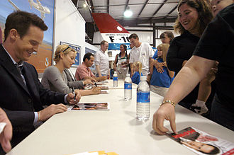 "Monk (TV series) - Jason Gray-Stanford, Traylor Howard and Tony Shalhoub sign autographs at Edwards Air Force Base after the season 4 episode ""Mr. Monk and the Astronaut"""