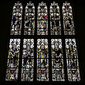 Castle Hedingham, St Nicholas' Church, Essex England, stained glass, saints and apostles, tower west window.jpg