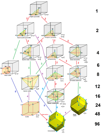 Architectonic and catoptric tessellation - The 13 architectonic or catoptric tessellations, shown as uniform cell centers, and catoptric cells, arranged as multiples of the smallest cell on top.