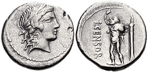 Marsyas - Denarius minted at Rome in 82 BC by L. Censorinus, with the head of Apollo and the figure of Marsyas holding a wineskin, based on the statue in the forum