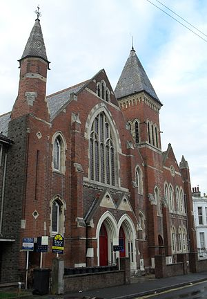 Central Methodist Church, Eastbourne - The congregation of the former Ceylon Place Baptist Church worshipped at Central Methodist Church for several years after the conversion of their building into flats.