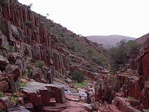 """Gawler Ranges - Columnar jointing in rhyolite at the """"Organ Pipes"""" waterfall in the ranges"""