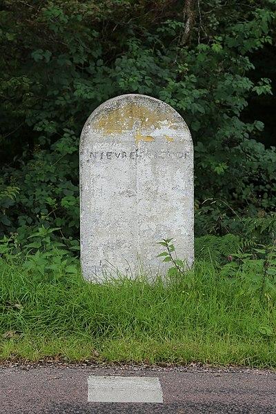 Borne marquant la limite entre la Côte-d'Or (commune de Champeau-en-Morvan) et la Nièvre (commune de Saint-Brisson) sur la RD 26a.