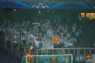 2014 Malmö FF season - Malmö FF fans at Red Bull Arena at the away game against Red Bull Salzburg on 19 August 2014.