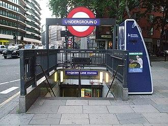 Chancery Lane tube station - Northeastern entrance