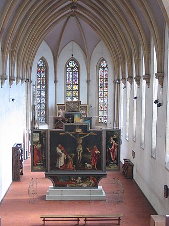 Unterlinden Museum - View (from the 18th century loft) of the chapel, constructed 1262-1269, and the Isenheim Altarpiece