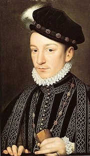 """Charles IX of France, by François Clouet. The Venetian ambassador Giovanni Michiel described him as """"an admirable child, with fine eyes, gracious movements, though he is not robust. He favours physical exercise that is too violent for his health, for he suffers from shortness of breath""""."""