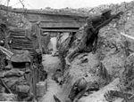 Tranchée britannique dans la Somme en juillet 1916.