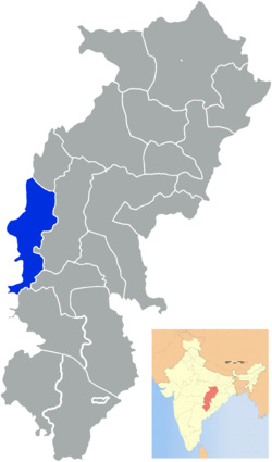Location of Rajnandgaon district in Chhattisgarh