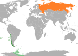 Map indicating locations of Chile and Russia