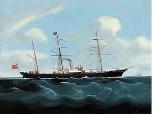 Chinese School 19th century - The British steamer Aberdeen in Far Eastern waters with a junk off her port bow.jpg
