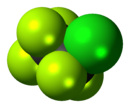 Space-filling model of the chloropentafluoroethane molecule