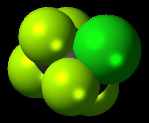 Chloropentafluoroethane - Image: Chloropentafluoroeth ane 3D spacefill