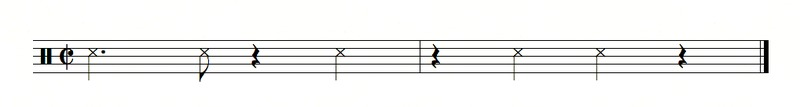 3-2 clave written in two measures in cut-time. Clave in cut-time.tiff