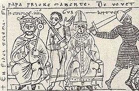 L antipape Clément III (au centre) avec l empereur Henry IV, Codex Jenesis Bose q.6, daté de 1157.