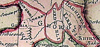 Kartli - Kartli (Cardueli) in the 18th century. Detail from a map of Jean Clouet, 1767.
