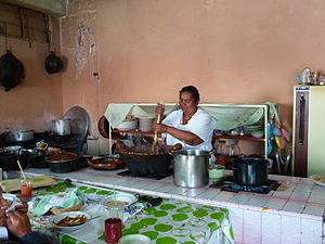 Mole sauce - Woman cooking mole at a small restaurant in San Pedro Atocpan