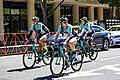Colavita-Bianchi riders warming up before Stage 4 in Sacramento (34844512541).jpg
