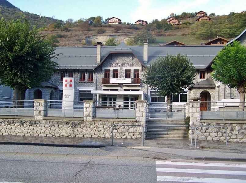 Building of collège Jovet middle school in commune of Aime, Savoie, France.