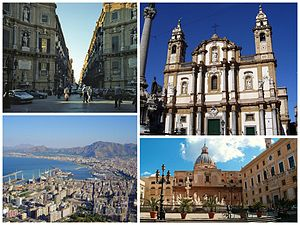 Clockwise from top: Quattro Canti in Maqueda Street, San Domenico Church, Pretoria Square and Santa Caterina Church, and view of downtown Palermo from Mount Pellegrino