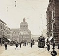 Cologne, Waidmarkt, roof of St. Georg church in the background, two trams, before 1910.jpg