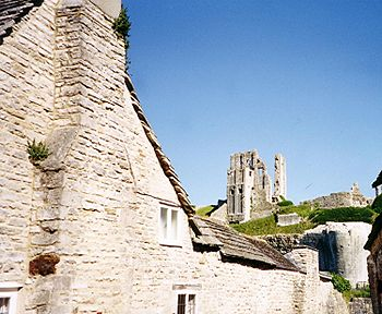 Vista de las ruinas del castillo desde el pueblo.