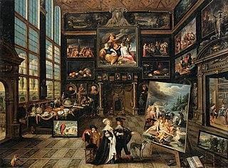 Intérieur d'une galerie de tableaux et d'objets d'art