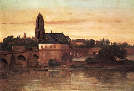 View of Frankfurt am Main, including the Alte Brucke (Old Bridge), by Gustave Courbet (1858) Courbet Frankfurt.jpg