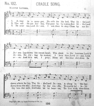 Away in a Manger - Gabriel's Vineyard Songs (1892), the earliest known publication of the third verse