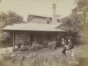 John Horbury Hunt - John Horbury Hunt and his wife outside their cottage in the Sydney suburb of Bellevue HIll
