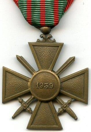 Croix de Guerre 1939 France REVERS