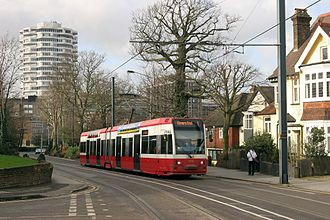 Tramlink - Tram 2530 leaving Croydon on an Elmers End service in 2004