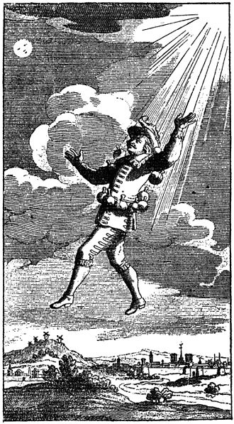 Comical History of the States and Empires of the Moon - Cyrano uses bottles of dew to float upwards. Illustration from the second volume of an edition of Cyrano de Bergerac's complete works printed in Amsterdam in 1708