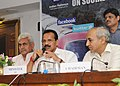 D.V. Sadananda Gowda addressing at the launch of the social media platform of Indian Railways, in New Delhi. The Minister of State for Railways, Shri Manoj Sinha and the Chairman, Railway Board.jpg