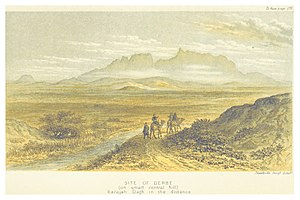 DAVIS(1879) p329 SITE OF DERBE, KARAJH DAGH MOUNTAINS IN THE DISTANCE.jpg