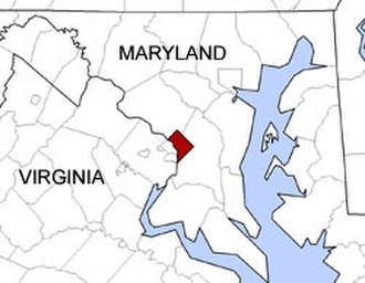 Geography of Washington, D.C. - Map showing the location of Washington, D.C., in relation to the surrounding states of Maryland and Virginia
