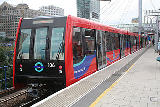 Docklands Light Railway rolling stock - B07 stock train in 2008 livery at Poplar DLR station