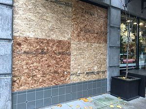 2016 Portland, Oregon riots - Boarded windows of a store after the riots, November 13, 2016