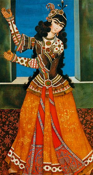 Zill - Dancing girl playing Zills from Qajar Era.
