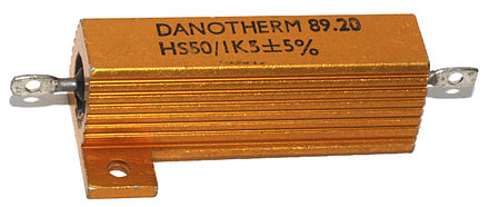 An aluminium-encased power resistor rated for dissipation of 50 W when mounted on a heat-sink Danotherm HS50 power resistor.jpg