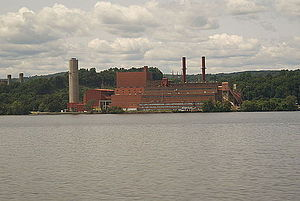 Danskammer Generating Station - A view of the Danskammer Generating Station in Newburgh, NY as seen from a train travelling on the other side of the Hudson River.