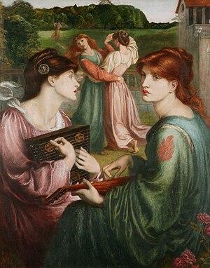 Alexa Wilding - Alexa Wilding (right) in The Bower Meadow (1871–1872) with Marie Spartali Stillman (left), by Dante Gabriel Rossetti