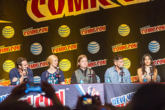 Daredevil (TV series) - Cast of Daredevil at the 2015 New York Comic Con. (L to R: Cox, Woll, Henson, Bernthal, Yung)