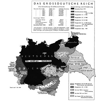 Territorial evolution of Germany - Territorial expansion of Germany proper from 1933 to 1941 as explained to Wehrmacht soldiers, a Nazi era map in German.