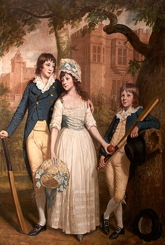 Sir John de la Pole, 6th Baronet - 1793 Portrait by Thomas Beach with Old Shute House as background of the three children of Sir John William de la Pole, 6th Baronet (1757–1799): (l to r): William (1782–1847), future 7th Bt., Mary-Anne (b.1783) and John George (1786–1803). Collection at Antony House, Cornwall