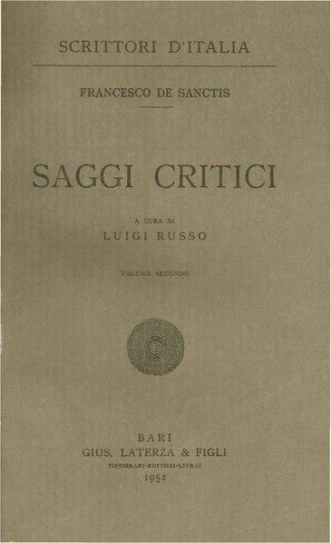 File:De Sanctis, Francesco – Saggi critici, Vol. II, 1952 – BEIC 1804122.pdf