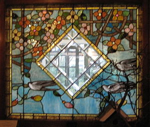 Povey Brothers Studio - Povey Brothers window at Deepwood Estate, Salem, Oregon, showing their signature dogwood motif
