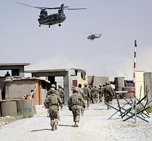Canada's role in the War in Afghanistan - Canadian CH-147 and CH-146 over Daman District Center.